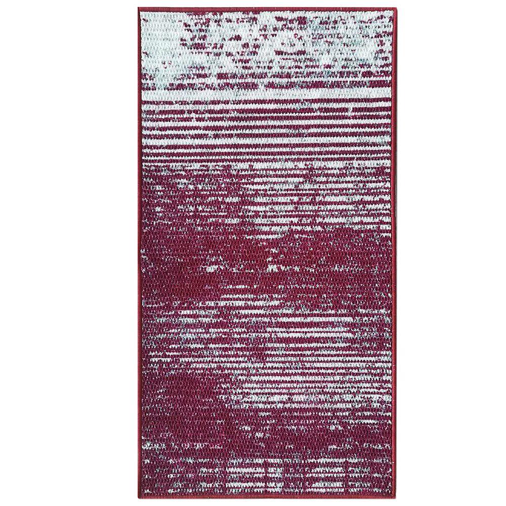 Lanart Rug City Stripes 26-inch x  49-inch Red Rectangular Doormat