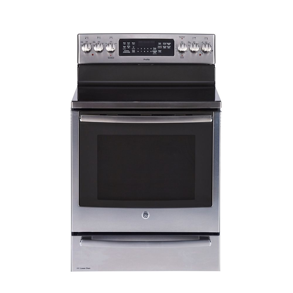 GE Profile 30-inch 6.2 cu. ft. Double Oven Electric Range with Self Cleaning Convection Oven in Stainless Steel