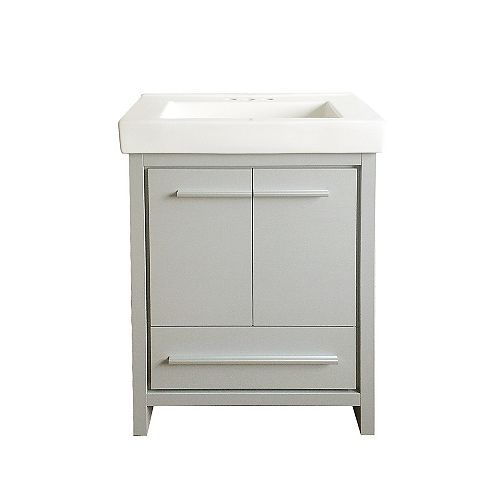 Romali 24-inch W x 14.2-inch D x 33.9-inch H Vanity in Grey with White Ceramic Top