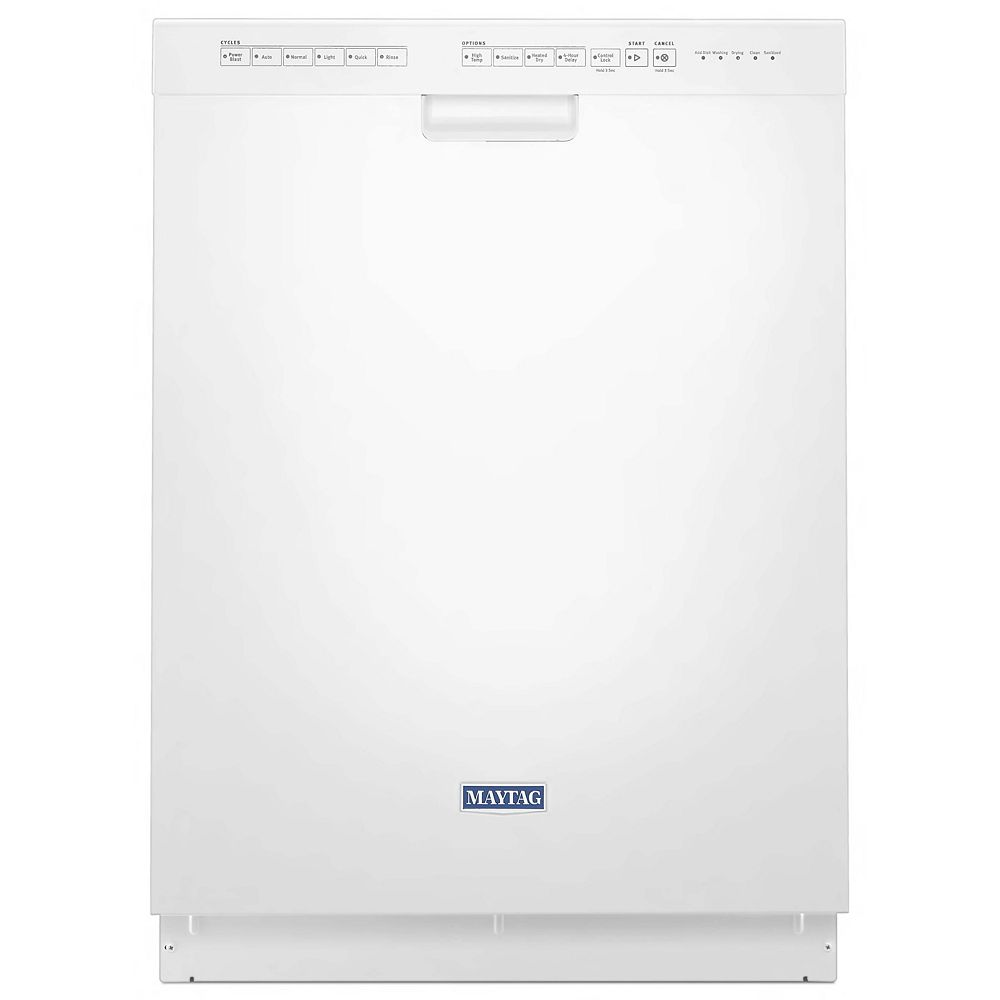 Maytag Front Control Dishwasher in White with Stainless Steel Tub, 50 dBA - ENERGY STAR®