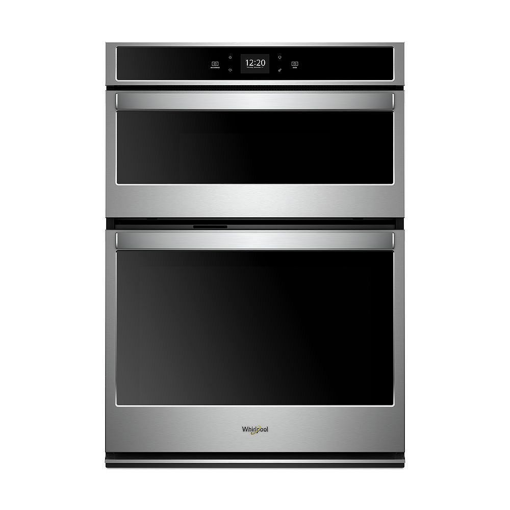 Whirlpool 30-inch 6.4 cu. ft. Electric Smart Wall Oven Self-Cleaning & Microwave with Touchscreen in Stainless Steel