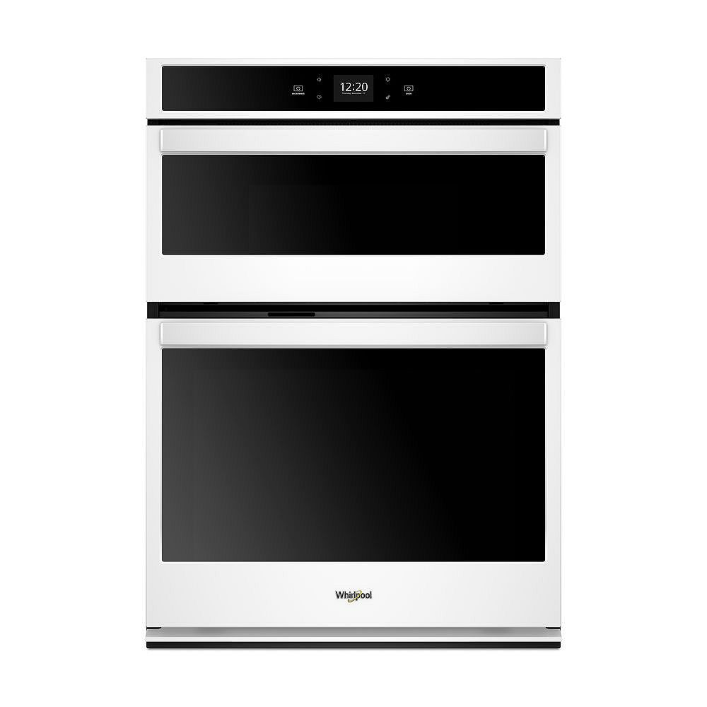 Whirlpool 30-inch 6.4 cu. ft. Electric Smart Wall Oven Self-Cleaning & Microwave with Touchscreen in White