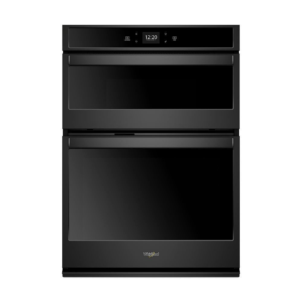 Whirlpool 27-inch 5.7 cu. ft. Smart Double Electric Wall Oven & Microwave with Touchscreen in Black
