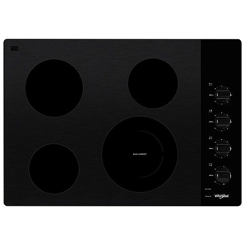 30-inch Electric Ceramic Glass Cooktop in Black with 4 Burners and a Dual Radiant Element