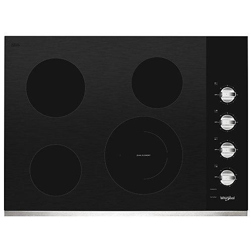 Table de cuisson électrique en vitrocéramique de 30 pouces en acier inoxydable avec 4 brûleurs et un double élément rayonnant.
