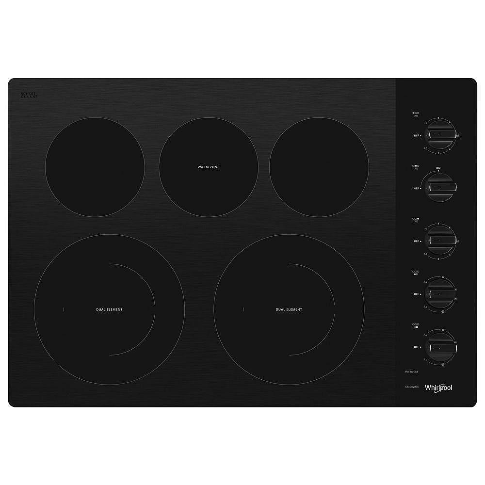 Whirlpool Table de cuisson électrique en vitrocéramique de 30 pouces en noir avec 5 éléments, dont 2 éléments à double rayonnement