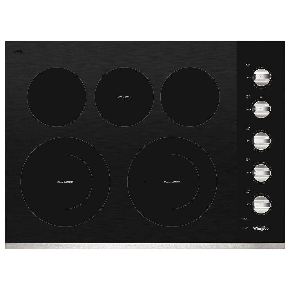 Whirlpool Table de cuisson électrique en vitrocéramique de 30 po en acier inoxydable avec 5 éléments dont 2 éléments rayonnants doubles.