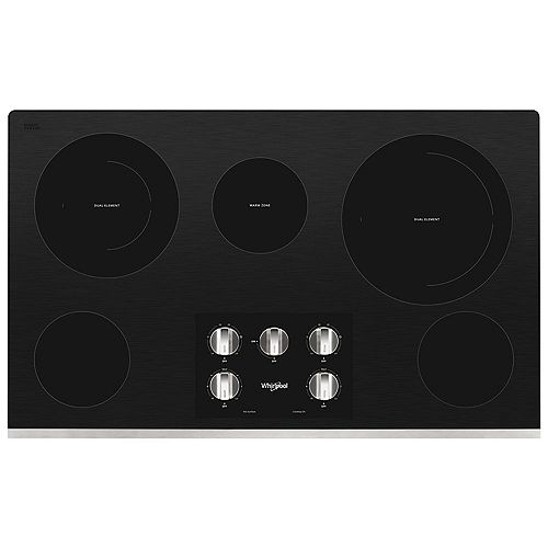 Whirlpool 36-inch Electric Ceramic Glass Cooktop in Stainless Steel with 5 Elements including 2-Dual Radiant Elements