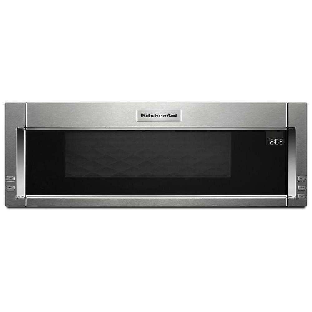 KitchenAid Four à micro-ondes à profil bas de 1,1 pi3 en acier inoxydable avec capteur de cuisson.