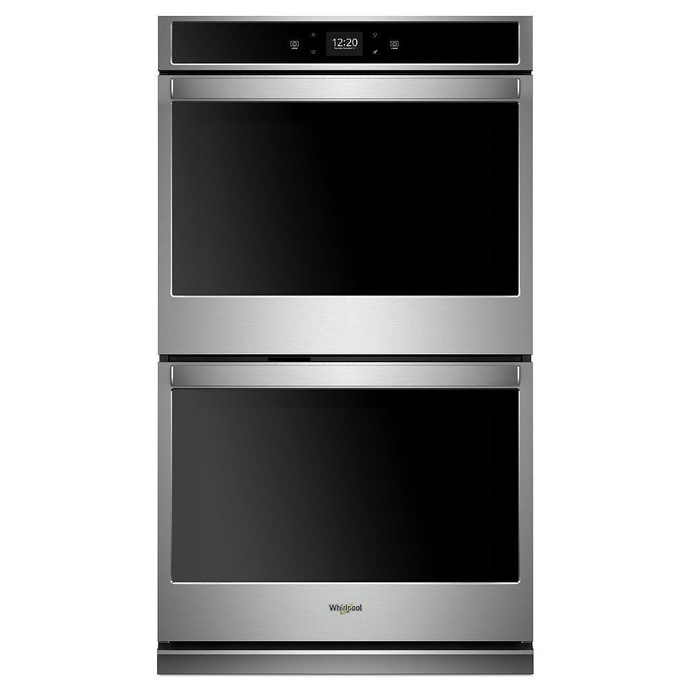 Whirlpool 30-inch 10 cu. ft. Smart Double Electric Wall Oven with Touchscreen in Stainless Steel