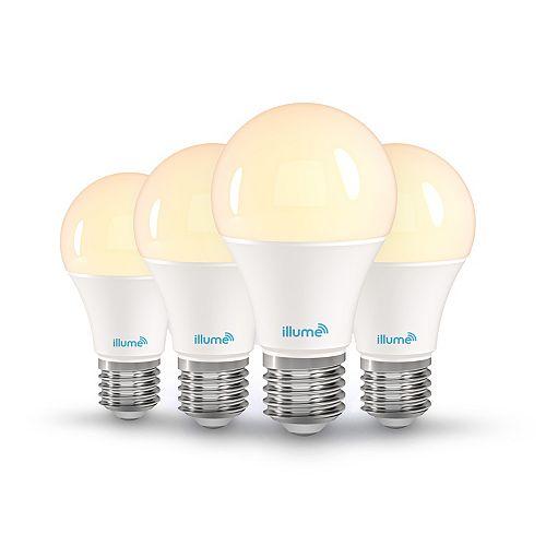 Illume 8W A-19 Multi-Color and Tunable White Smart Wi-Fi LED Light Bulb (4-Pack)