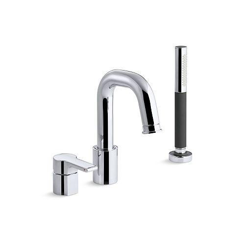 Singulier(TM) deck-mount bath filler with handshower
