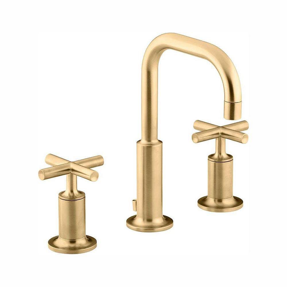 KOHLER Purist(R) widespread bathroom sink faucet with low cross handles and low gooseneck spout