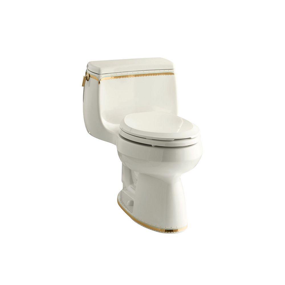 KOHLER Gabrielle Comfort Height 1-Piece 1.28 Gpf Single Flush Elongated Toilet With Prairie Flowers Design