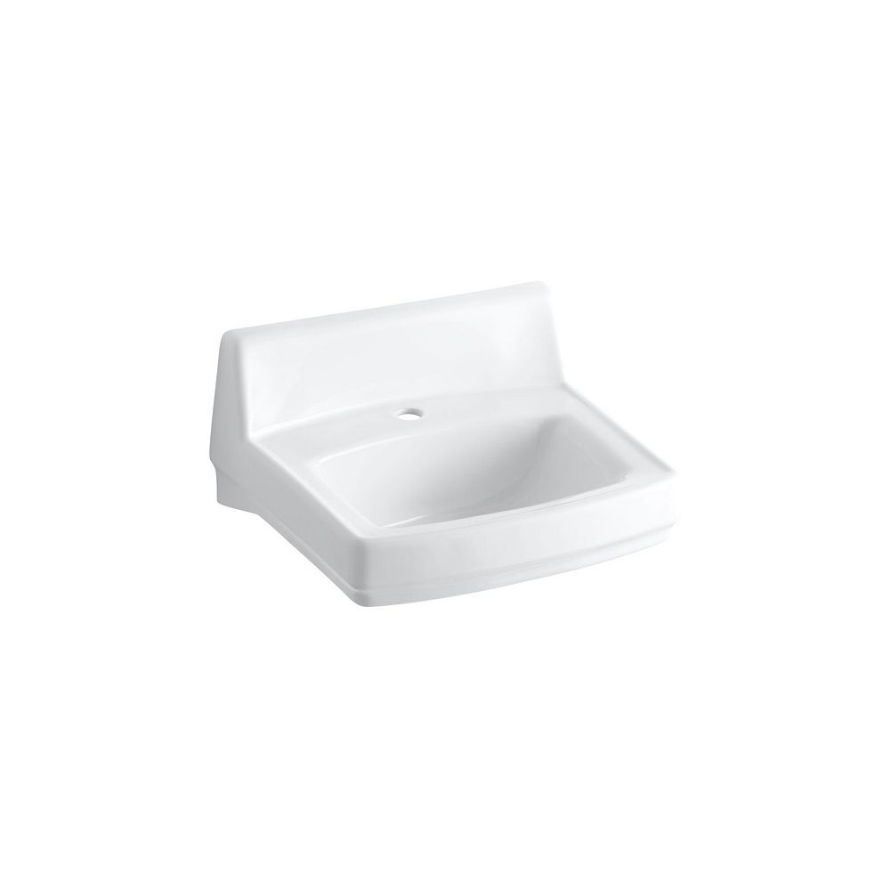 KOHLER Greenwich(TM) 20-3/4 inch x 18-1/4 inch wall-mount/concealed arm carrier bathroom sink with single faucet hole and no overflow