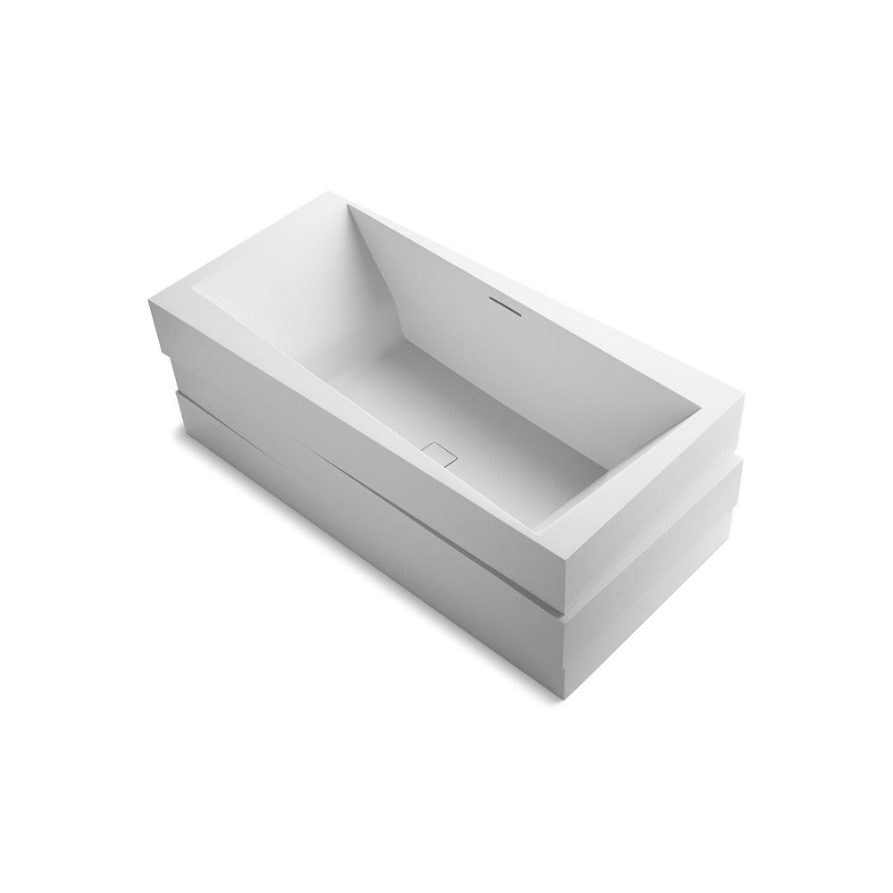 KOHLER Askew 6 ft. Center Drain Soaking Tub In Honed White