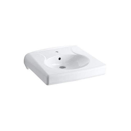 KOHLER Brenham(TM) wall-mounted or concealed carrier arm mounted commercial bathroom sink with single faucet hole