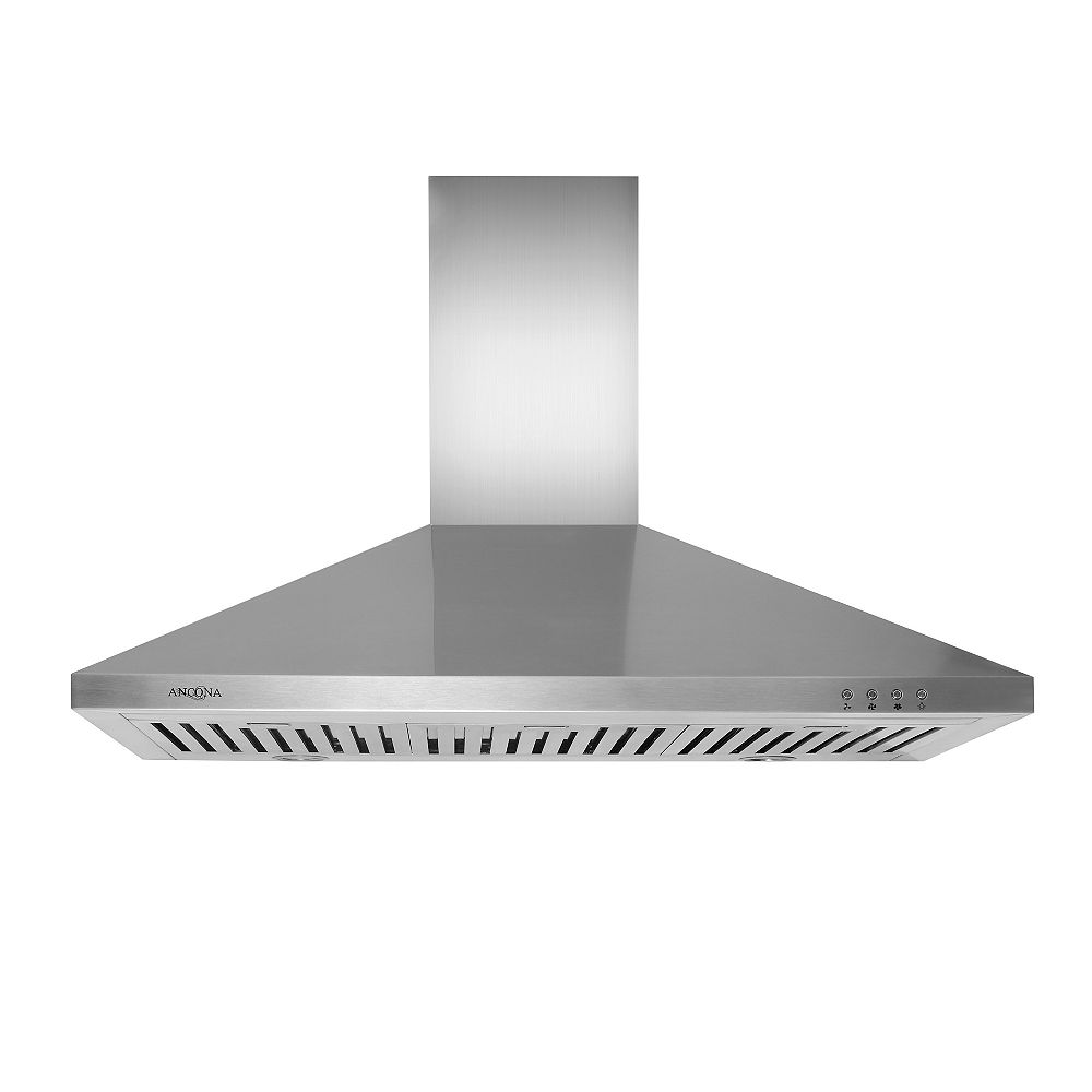 Ancona WPL 436 Pyramid 36 inch Pyramid style Range Hood in Stainless Steel with LED lights