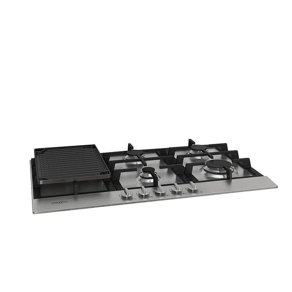 Ancona 34 inch Gas Cooktop in Stainless Steel with 5 Burners including Cast Iron Griddle