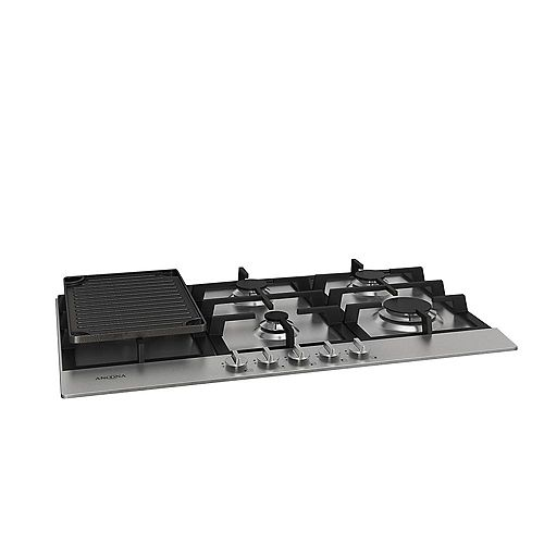 34 inch Gas Cooktop in Stainless Steel with 5 Burners including Cast Iron Griddle