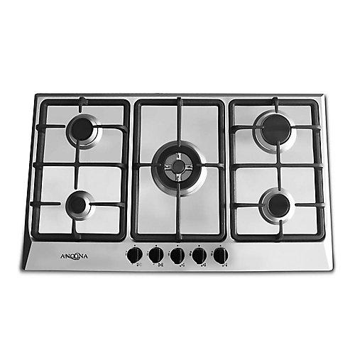 Surface de cuisson à gaz, 4 brûleurs/1 électrique à triple anneau en laiton, 34 po, acier inoxydable