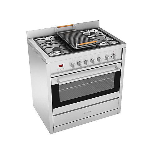 Cuisinière au gaz de 36 po à 5 brûleurs en acier inoxydable avec four électrique et grille en fonte