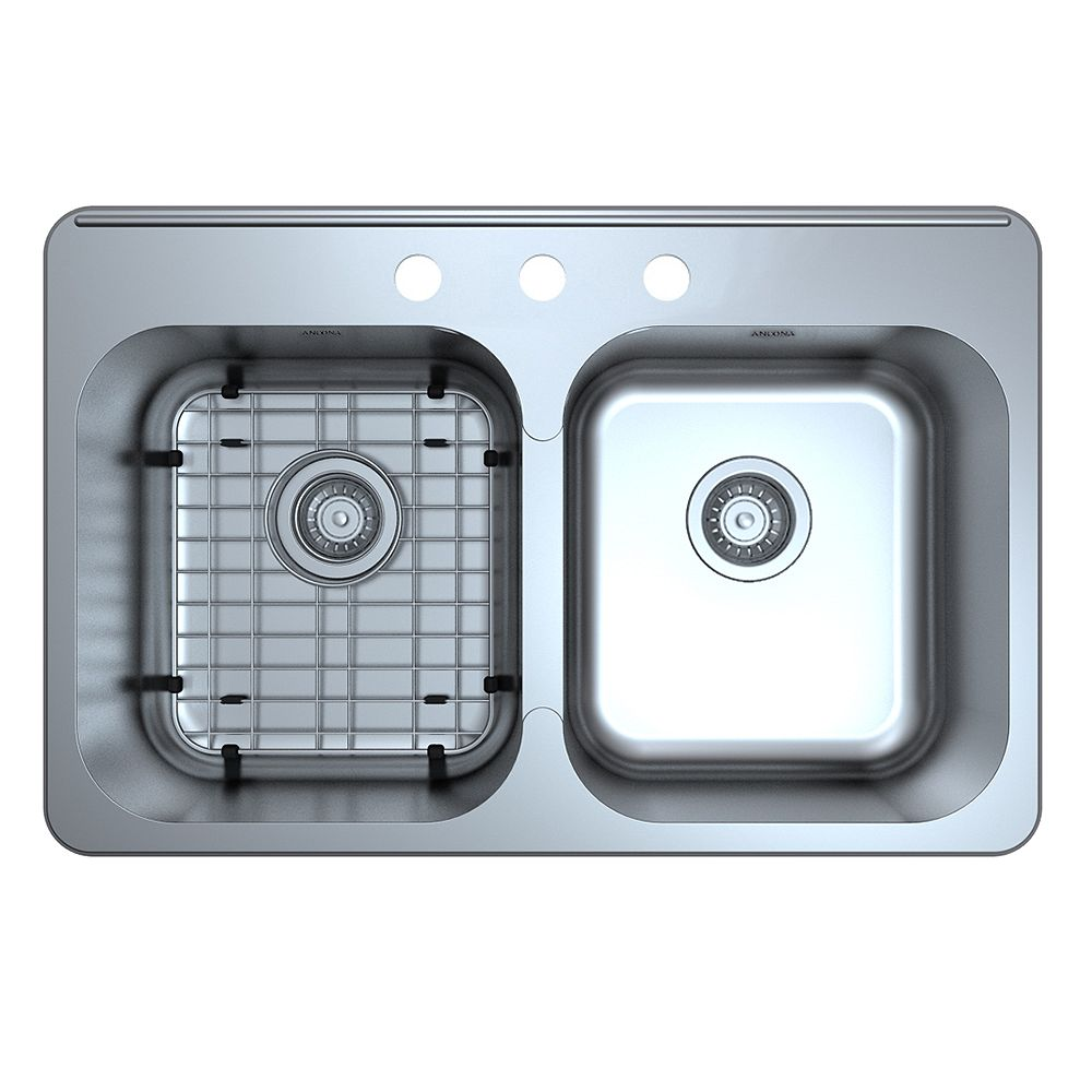 Ancona Capri Series Top Mount Stainless Steel 31.5 inch 3-Hole 50/50 Double Bowl Kitchen Sink