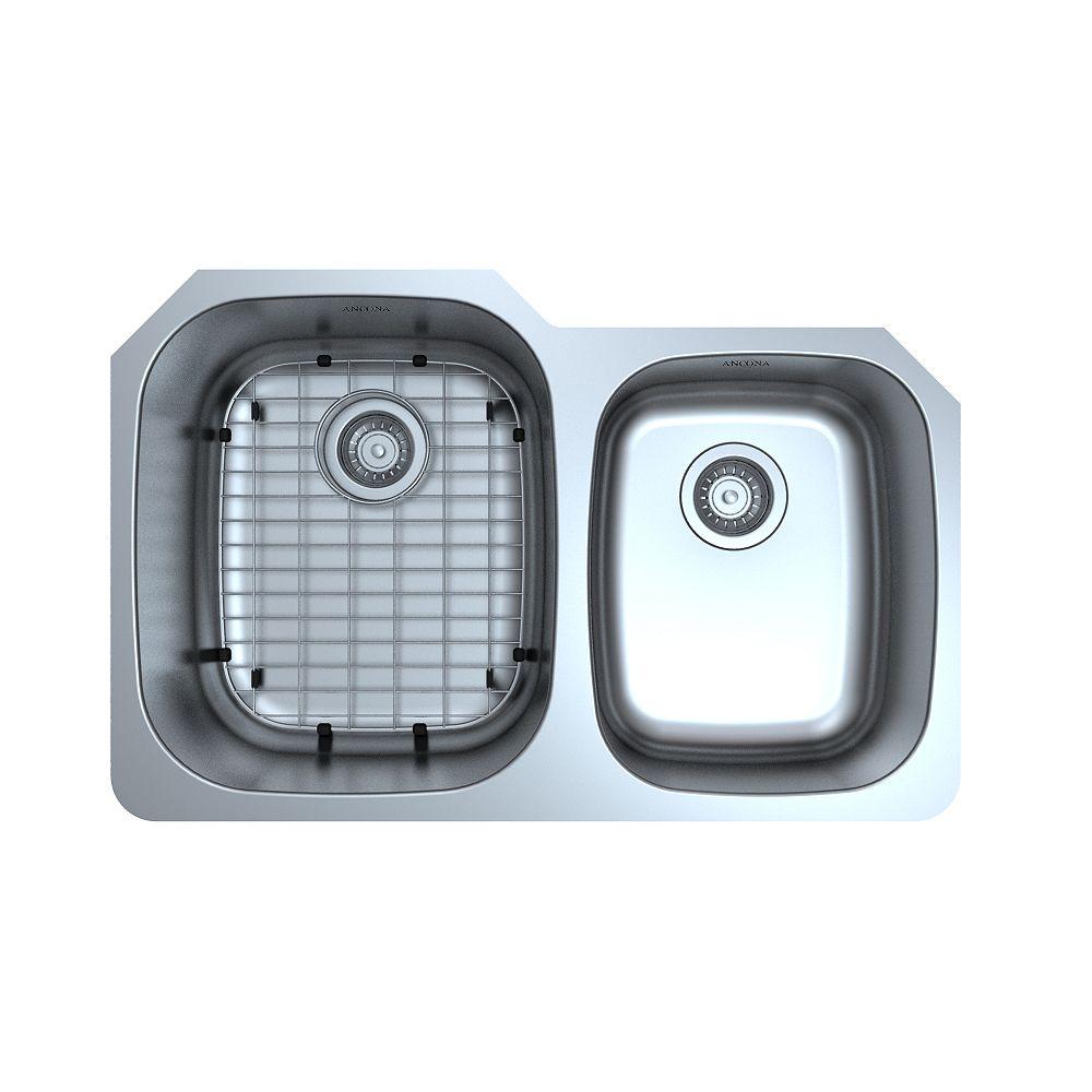 Ancona Capri Series Undermount Stainless Steel 31.75 inch 60/40 Double Bowl Kitchen Sink