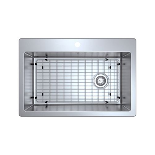 Ancona Valencia Series 33 inch Dual Mount Single Bowl Stainless Steel Sink Apron Handmade