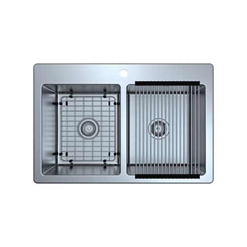 Valencia Series 33 inch Dual Mount Double Bowl Stainless Steel Sink