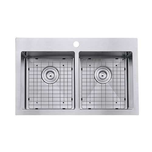 Prestige Series Drop-in Stainless Steel 30 inch 1-Hole 50/50 Double Basin Kitchen Sink with Grids and Strainers