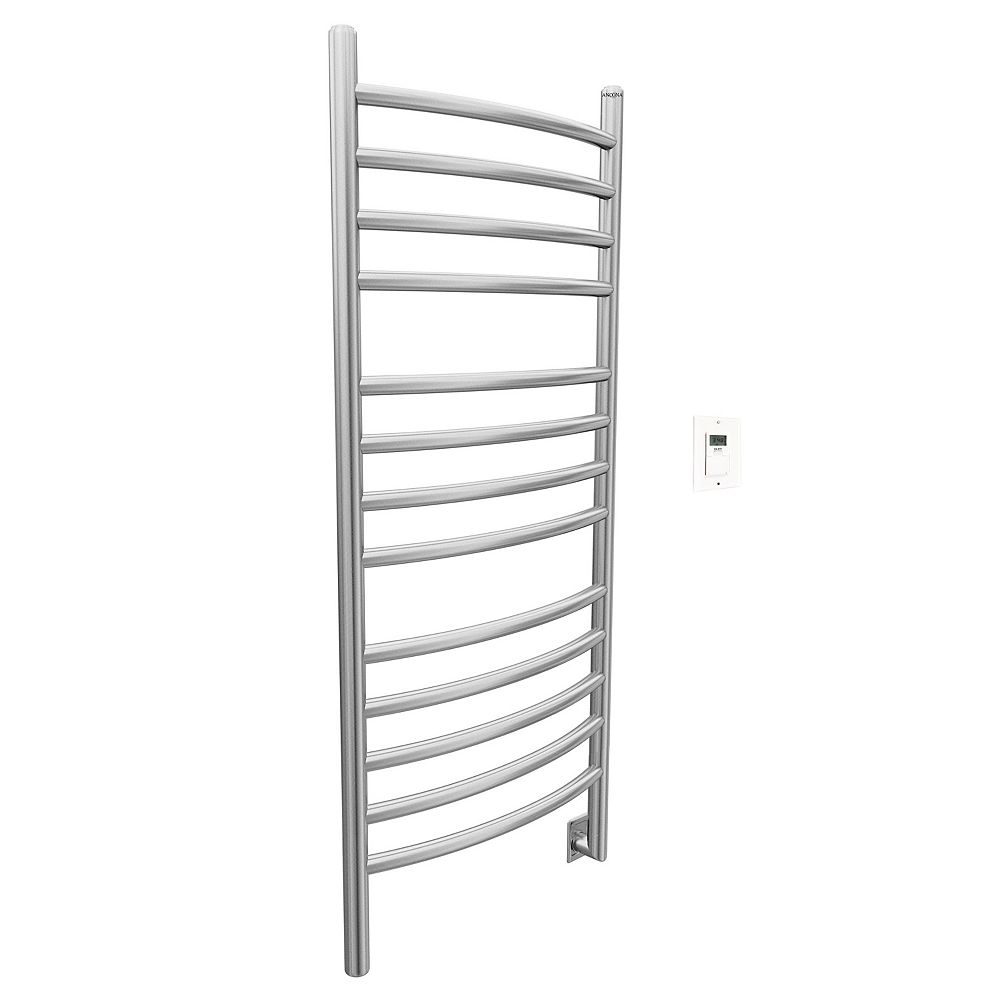 Ancona Svelte Rounded 40 inch Hardwired Electric Towel Warmer in Brushed Staineless Steel with Timer