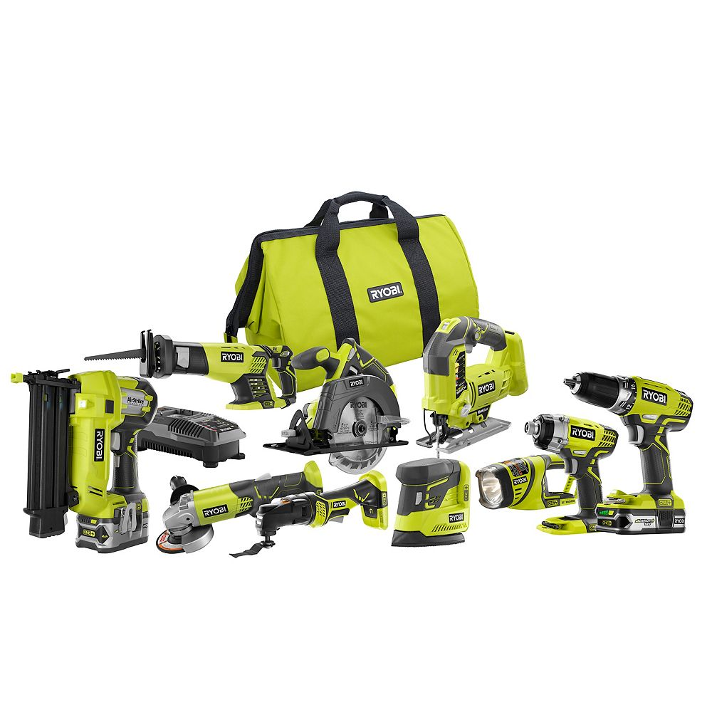 RYOBI 18V ONE+ Lithium-Ion Cordless Combo Kit (10-Tool) with (1) 4.0 Ah Battery & (1) 1.5 Ah Battery