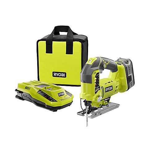 18V ONE+ Lithium-Ion Cordless Jig Saw Kit with Compact Battery, Charger and Bag