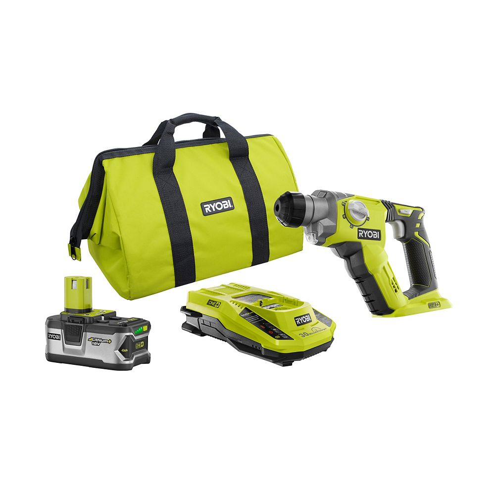 RYOBI 18V ONE+ Lithium-Ion 1/2 inch Rotary Hammer Drill Kit with 4.0Ah Battery, Charger and Bag
