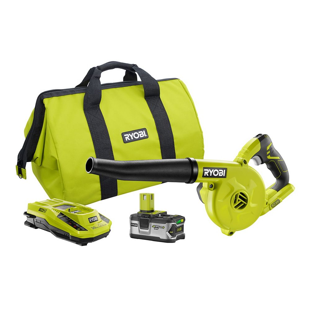 RYOBI 18V ONE+ Lithium-Ion Cordless Workshop Blower Kit w/ 4.0Ah Lithium Plus Battery