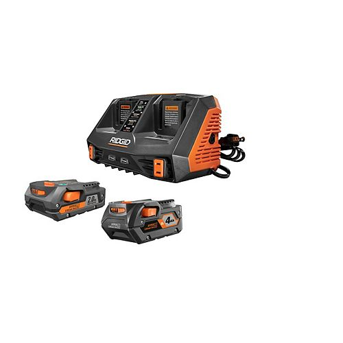 18V Li-Ion Dual Port Sequential Charger Kit with (1) 4.0Ah Battery and (1) 2.0Ah Battery