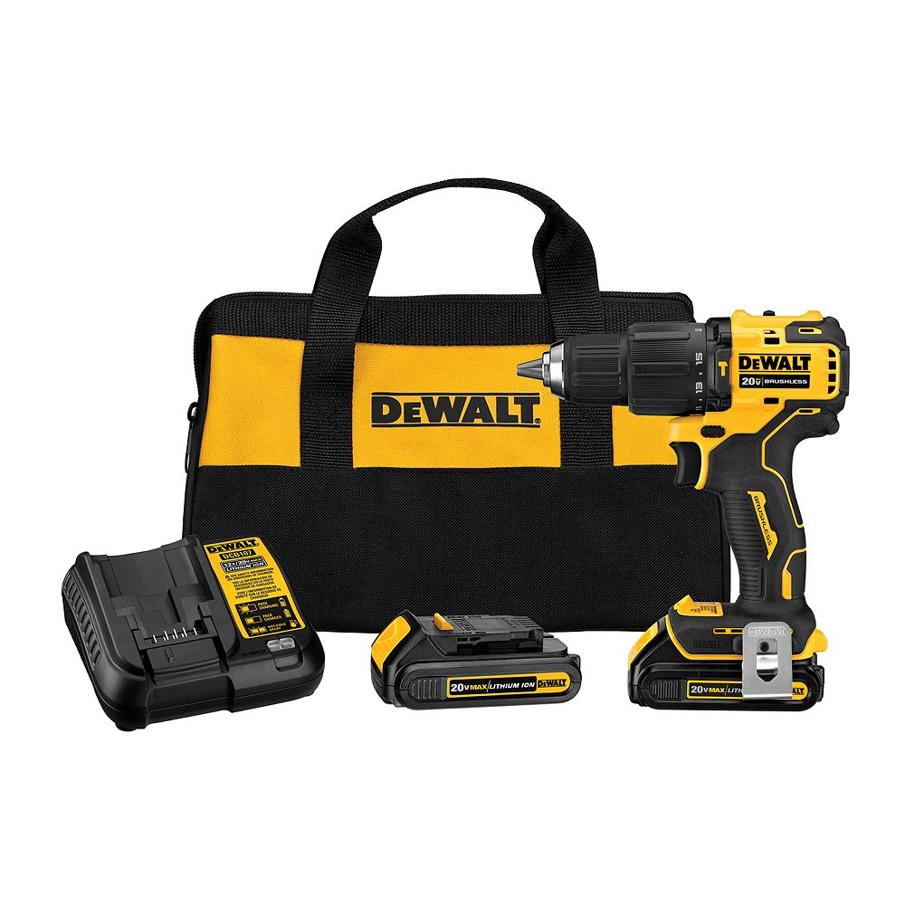 DEWALT ATOMIC 20V MAX Lithium-Ion Cordless Brushless 1/2-inch Compact Hammer Drill Kit