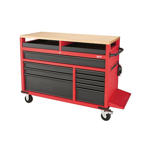 52-inch 11-Drawer Mobile Tool Storage Workbench with Wood Top in Red and Black