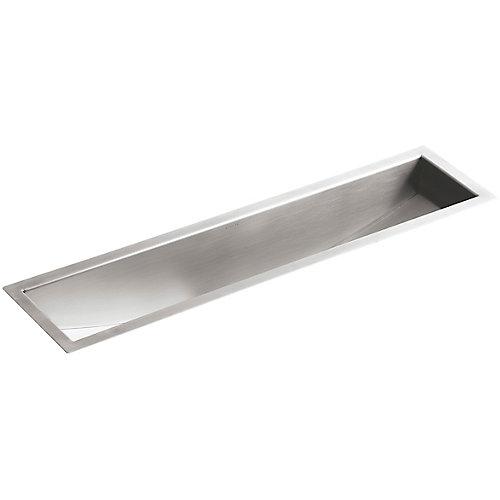 Undertone Stainless Steel 8-1/4X 33X6 0-Hole Undercounter Trough Sink