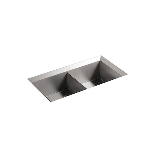Poise Undercounter Stainless Steel 33X18X9.5 0-Hole Double Bowl Kitchen Sink