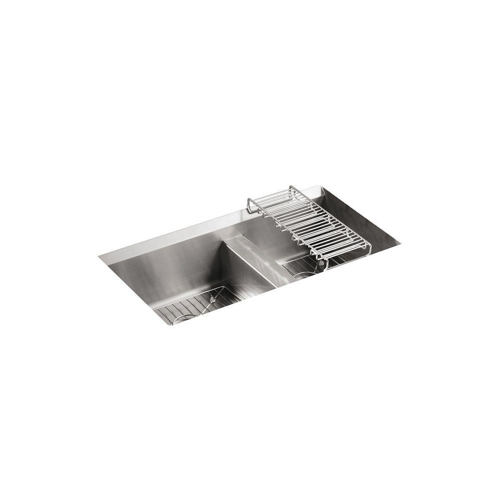 KOHLER 8 Degree Undercounter Stainless Steel 33X18X10.1875 0-Hole Double Bowl Kitchen Sink
