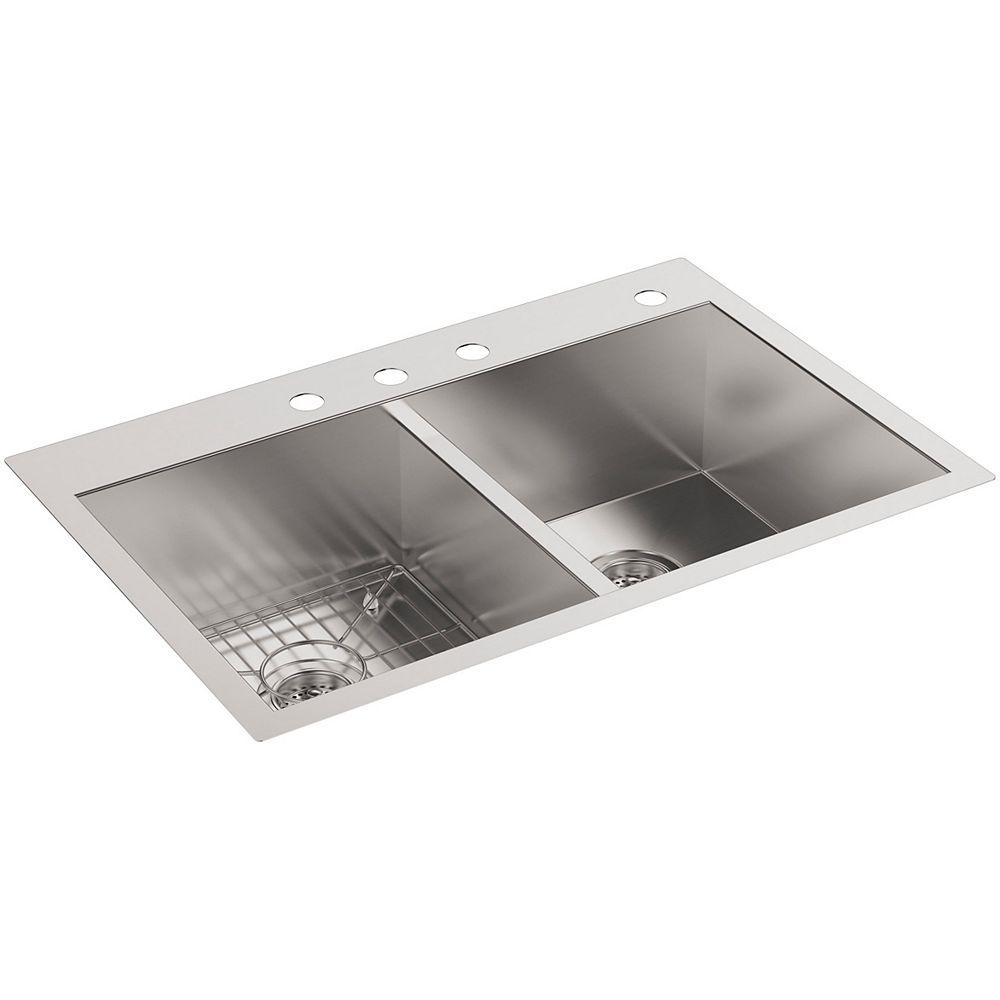 KOHLER Vault Undercounter Stainless Steel 33X22X9.3125 4-Hole Double Bowl Kitchen Sink