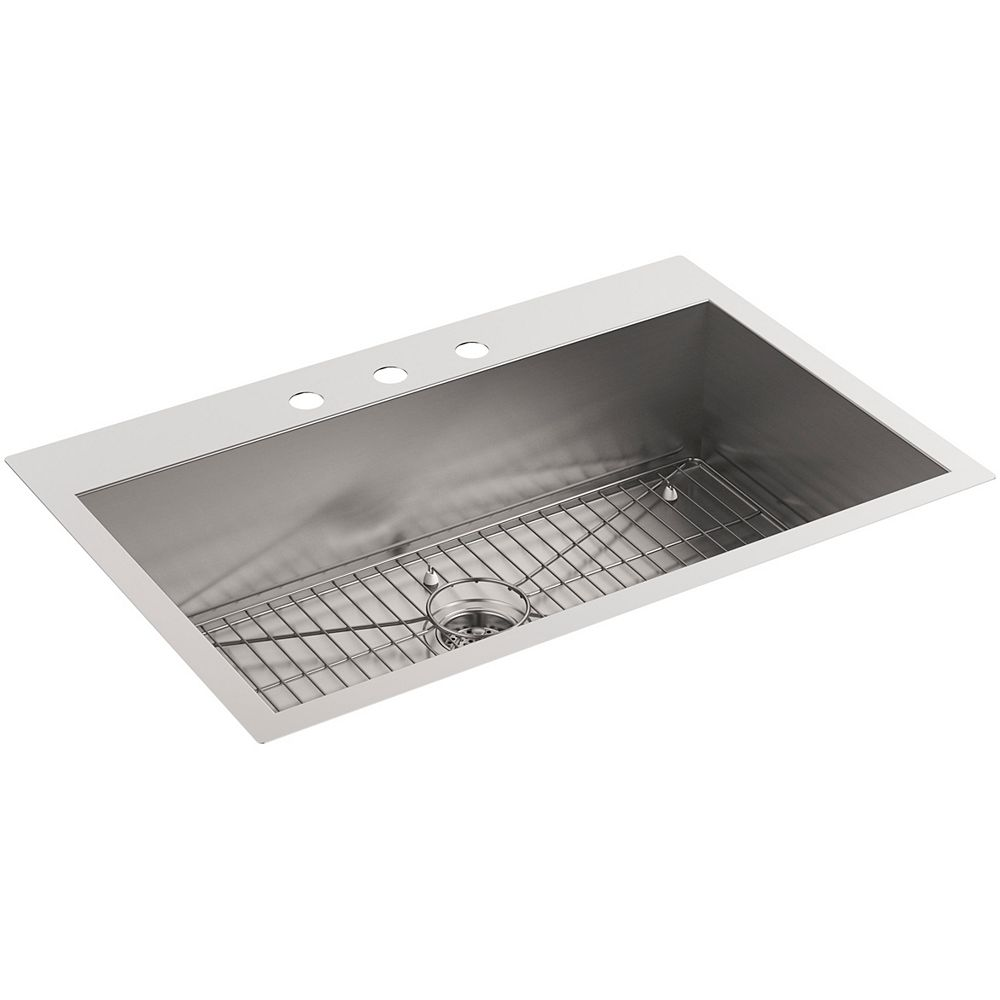 KOHLER Vault Top Mount/Undermount Stainless Steel 33  inch 3-Hole Single Bowl Kitchen Sink
