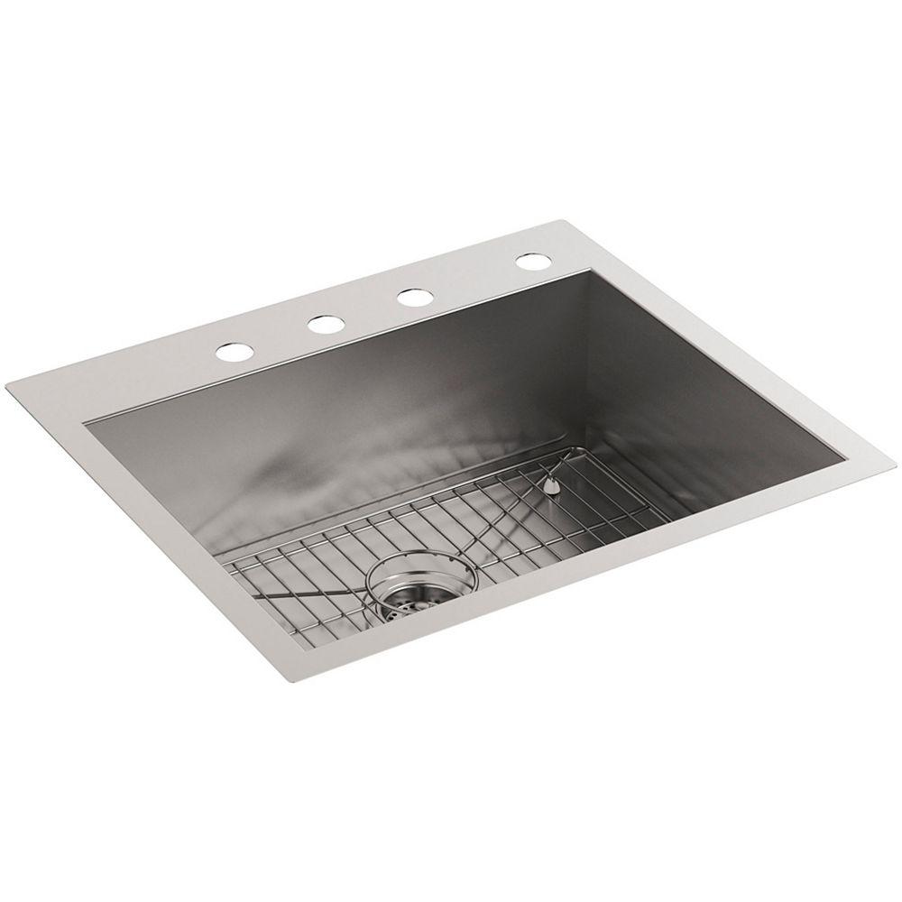KOHLER Kit d'évier de cuisine à deux cuves de 25 pouces à 4 trous avec support de cuve en acier inoxydable