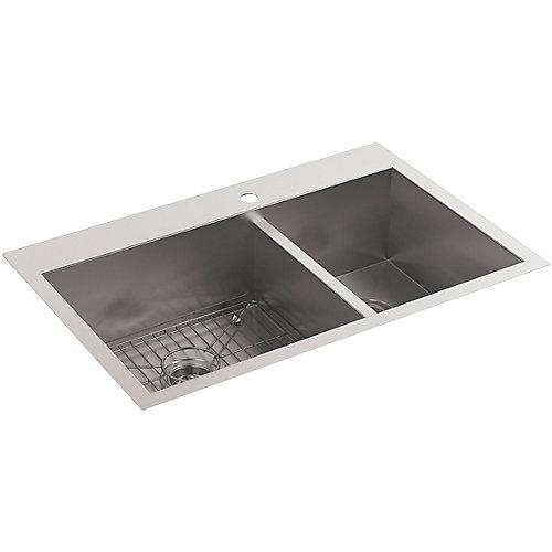 Vault Offset Self-Rimming/Undercounter Stainless Steel 33X22X9.3125 1-Hole Kitchen Sink