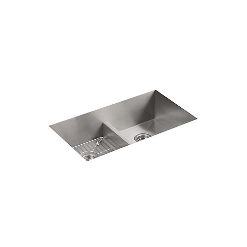 Vault Smart Divide Stainless Steel 33X22X9.3125 1-Hole Double Bowl Kitchen Sink