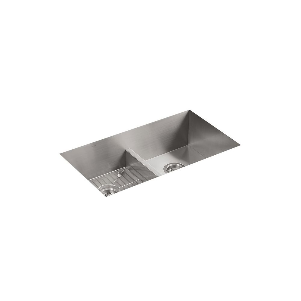 KOHLER Vault Smart Divide Top Mount Stainless Steel 33  Inch 3-Hole 50/50 Double Bowl Kitchen Sink
