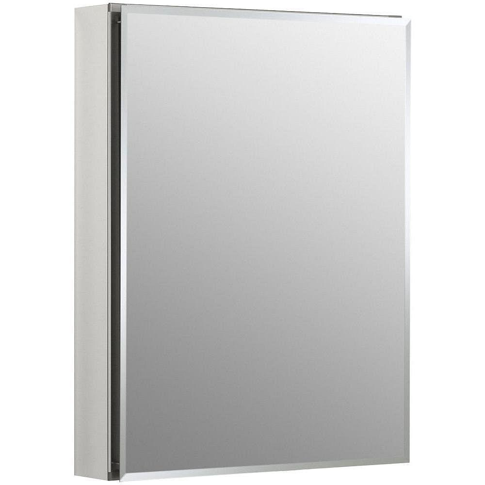 KOHLER Armoire a pharmacie en aluminium, 20 x 26 po, avec une porte a miroir et bords biseautes.