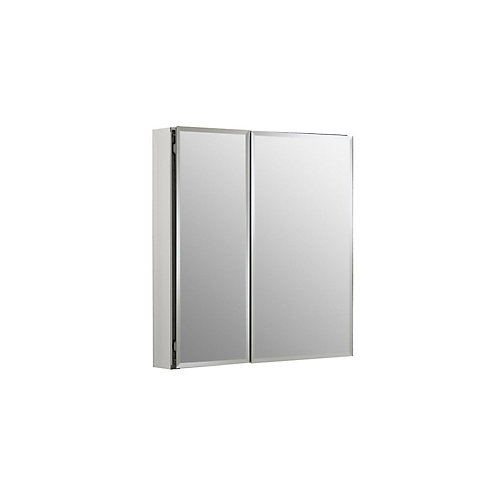 Double Door 25-inch W x 26-inch H x 5-inch D Aluminum Cabinet with Square Mirrored Door in Silver